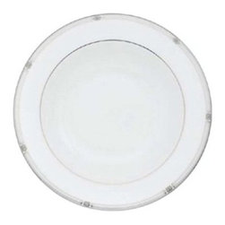 Lenox Westerly Platinum Pasta/Rim Soup Bowl - Don't neglect your soups, pastas, and stews; give them the attention they deserve in the Lenox Westerly Platinum Pasta/Rim Soup Bowl. The white-bodied bowl is made from fine bone china and has the capacity to hold up to 12 ounces. Its wide brim is accented in a clean silver design featuring precious platinum. Raised dots in platinum and pearly white add extra luster and texture.About LenoxThe Lenox Corporation is an industry leader in premium tabletops, giftware, and collectibles. The company markets its products under the Lenox, Dansk, and Gorham brands, propelled by a shared commitment to quality and design that makes the brands among the best known and respected in the industry. Collectively, the three brands share 340 years of tabletop and giftware expertise.