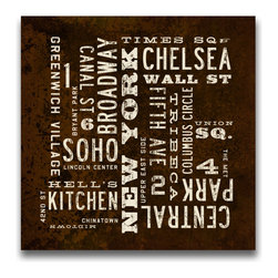 Transit Design - New York City Art Sign - Neighborhoods, 24 X 24 - This rustic stretched canvas sign highlights New York City's neighborhoods and attractions. Vintage style type with distressed background. Ideal for your apartment or loft.