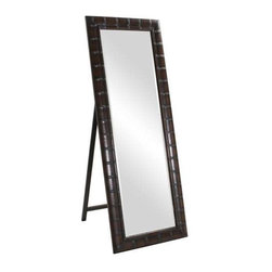 Howard Elliott Thailand Bamboo Mirror - This Thailand standing mirror is finished in a French brown and features a faux bamboo effect.