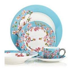 Cru International - Cru International Madison's April In NY 5-PC Place Setting Set Blue / Multi - An inspiration, Cru's Madison dinnerware is designed and named for Madison Arnold, a young girl who dreamed of seeing New York but succumbed to leukemia at age 14. Lush cherry blossoms recall the gorgeous branches covering Madison Square Park every spring.