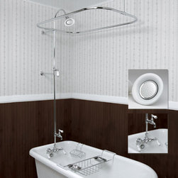 Leg Tub Shower Enclosure Set - This leg tub shower enclosure set is made with heavy gauge brass tubing.  All you need to setup your leg tub for showers, comes with all necessary parts including brass and porcelain showerhead.
