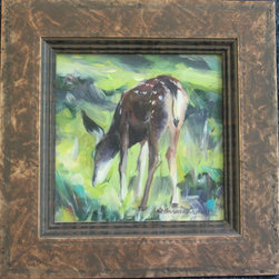 Painting Of Deer Eating - Painting of Deer Eating-