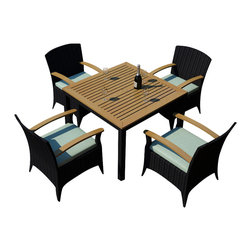 Harmonia Living - Arbor 5 Piece Outdoor Modern Arm Chair Dining Set, Spa Cushions - The Harmonia Living Arbor 5 Piece Modern Patio Dining Set with Turquoise Sunbrella cushions (SKU HL-AR-5ADN-SP) combines a stylish, modern design with the natural beauty of teak, creating a patio dining set you will enjoy for years. Its teak tabletop has been kiln-dried, removing excess moisture to ensure it will not crack or warp. The set is constructed with durable, thick-gauged aluminum frames, which are protected by a powder coating for superior corrosion resistance. The resin wicker is made of High-Density Polyethylene (HDPE), with its coffee bean color and UV resistance infused into each strand. This creates a rich wicker color that holds up incredibly well with age. Likewise, the Sunbrell seat cushions provide rich, long-lasting color, and create a comfortable dining experience in your modern patio.