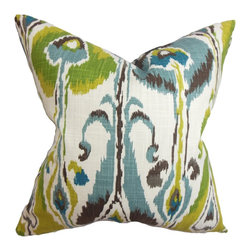 The Pillow Collection - Gudrun Ikat Pillow Blue Green - Adorn your living space with this dynamic accent pillow. The lovely shades of blue, green, brown, yellow and white interplay against each other forming a unique ikat pattern. This decor pillow is the perfect statement accessory for your sofa, bed or seat. This 100% cotton-made pillow bring life to your interiors with its intriguing design. Hidden zipper closure for easy cover removal.  Knife edge finish on all four sides.  Reversible pillow with the same fabric on the back side.  Spot cleaning suggested.
