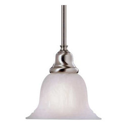 Dolan Designs Lighting - Mini-Pendant with Alabaster Glass - 649-09 - This mini-pendant features an alabaster glass shade and a sleek, satin-nickel finish, which makes it look great in a kitchen or dining area. The alabaster glass shade has white swirls and a slight scalloped pattern, which add dimension and depth. Includes one 6-inch and three 12-inch stem segments with an integrated sloped ceiling adapter. Takes (1) 100-watt incandescent A19 bulb(s). Bulb(s) sold separately. UL listed. Dry location rated.
