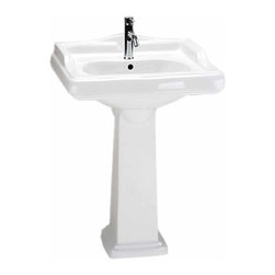 Renovators Supply - Pedestal Sinks White China Pedestal Sink Boones 34 1/4H x 24W | 17784 - Pedestal Sink. Pedestal sinks bestow the charm and grace of a bygone era wherever they reside. Breathe inspiration with an American sink that takes an English turn. This sink accepts a single hole faucet and has an overflow and accepts drains with overflows made to fit 1 3/4 inch drain holes.