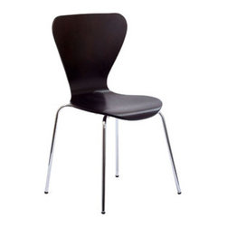 """LexMod - Ernie Dining Side Chair in Wenge - Ernie Dining Side Chair in Wenge - Minimalist in nature though it may be, this seat doesn't skimp on comfort. Its seemingly rigid design, flexes to the contours of the human body, making it a great side chair for homes and businesses alike. Set Includes: One - Ernie Chair Solid Plywood Seat, Stackable, Chrome Legs Overall Product Dimensions: 19.5""""L x 17""""W x 34""""H Seat Dimensions: 16""""L x 18""""H - Mid Century Modern Furniture."""