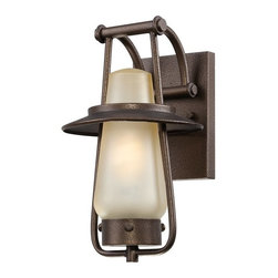 Designers Fountain - Designers Fountain Stonyridge Transitional Outdoor Wall Sconce X-ZBF-12023SE - A unique take on the traditional lantern shape, this Designers Fountain outdoor wall sconce is sure to please. From the Stonyridge Collection, it features warm finishes that help pull the look together including an elegant tea stained glass shade and rich Flemish Bronze finish.