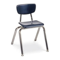 Virco - 3000 Series 14 in. Kids Chair (Navy) - Color: Navy. Stackable chair. Long lasting color and durability. Stain resistant. Four legs. Standard nylon-based glides. GREENGUARD Certified. Made from hard plastic. Chrome frame. Seat height: 14 in.. 16.5 in. W x 17.25 in. D x 25.75 in. H (14.6 lbs.)