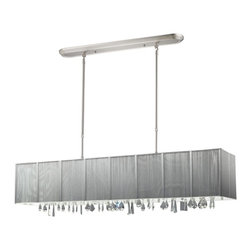 Five Light Brushed Nickel Nylon Silver Shade Island Light - Beautiful silver ribbons surround this elegant rectangular fixture, which is suspended from telescoping finished in brush nickel hardware, to ensure the perfect height. In contrast, solid glittering crystals hang from the bottom of this fixture to add additional beauty to an already beautiful fixture.
