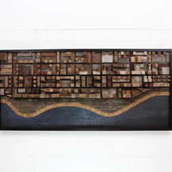 "Reclaimed wood wall art ocean city scape 52""Lx24""Hx4""D - I built this art piece to evoke an overhead snap shot of a cityscape off the ocean."