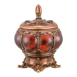 ORE International - 9 in. Ancient Jewelry Box - Distinctive shade and style. Two shades of brown and a red marble like stone. Clean with a damp cloth. Warranty: 30 days. Made from polyresin. No assembly required. 9 in. W x 9 in. D x 12 in. H (6.5 lbs.)This box adds a creative sensation to dark-colored furniture.