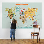 The World Map, Medium - World Map Peel and Stick. Let your children discover the world with our Peel & Stick World Map. Notable animals and landmarks are represented on each of the continents.