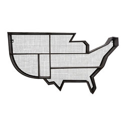 "Imax - Industrial Wire Mesh United States Wall Shelf - *Dimensions: 23.75""h x 7.25""w x 42"""