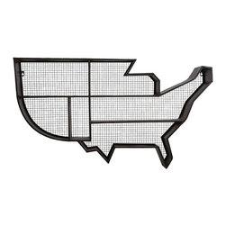 "Imax - Industrial Wire Mesh United States Wall Shelf - *Dimensions: 23.75""h x 7.25""w x 42"""