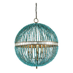 Currey & Company - Alberto Orb Chandelier - The Alberto Orb chandelier is a pretty sassy lighting fixture with its turquoise marble beads and its Cupertino finish. It's a classic form in unexpected materials so it can be imagined in many traditional settings as well as the right contemporary spot.