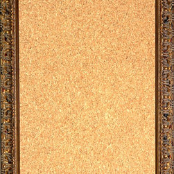 """Framed Cork Board 16"""" x 20"""" - with Ornate Dark Gold Finish Frame - 16"""" x 20"""" framed premium cork board produced to meet designer quality standards. This decorative framed bulletin boards are produced using high-precision framing techniques for a high-quality finished product with an extra thick cork surface. Our progressive business model allows us to offer these practical, yet decorative message boards to you at the best wholesale pricing, significantly less than frame shop corkboards, affordable to all. Great for office, conference room, home, kitchen, scheduling, leaving memos, to-do lists, family schedules, kid's art, photos, mementos, reminders, messages, lists, as an organizer, menu, for writing, drawing, classroom, school teacher, coaching and more. This corkboard is mounted into our 2 7/8"""" wide ornate dark gold finish frame by one of our expert framers. This framed pinboard comes with hardware, ready to hang on your wall, with the option of hanging horizontally or vertically.  We present a comprehensive collection of exceptional framed cork boards."""