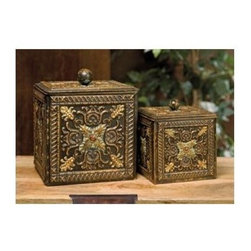 IMAX Worldwide Home - Arabian Nights 2-Pc Lidded Storage Box Set - Includes small and large box. Metal lidded boxes. Made from 100% wrought iron. Small: 5.75 in. W x 6.5 in. H. Large: 8 in. W x 9.25 in. H. Weight: 4.2 lbs.