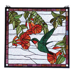 "Meyda Tiffany - 21""W X 19""H Hummingbird Stained Glass Window - A Ruby throated, Emerald Green hummingbird sips nectar from Scarlet trumpet flowers against a Crystalline sky in this charming Meyda Tiffany original window, framed in Mauve stained glass. 349 pieces of hand cut stained glass and 4 glass jewels are used to create this window. A solid brass hanging chain and brackets are included."