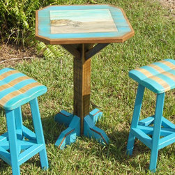 Turtle Cafe Table Set - Hand painted cafe set. Made from reclaimed cypress. Suitable for outdoor use