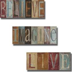 None - Patricia Pinto 'Believe,Imagine,Live' 3-piece Canvas Art Set - Artist: Patricia PintoTitle: Believe,Imagine,LiveProduct Type: 3-piece Canvas Art Set