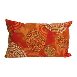 "Trans-Ocean Inc - Graffiti Swirl Warm 12"" x 20"" Indoor Outdoor Pillow - The highly detailed painterly effect is achieved by Liora Mannes patented Lamontage process which combines hand crafted art with cutting edge technology. These pillows are made with 100% polyester microfiber for an extra soft hand, and a 100% Polyester Insert. Liora Manne's pillows are suitable for Indoors or Outdoors, are antimicrobial, have a removable cover with a zipper closure for easy-care, and are handwashable.; Material: 100% Polyester; Primary Color: Red;  Secondary Colors: green, orange, white; Pattern: Graffiti Swirl; Dimensions: 20 inches length x 12 inches width; Construction: Hand Made; Care Instructions: Hand wash with mild detergent. Air dry flat. Do not use a hard bristle brush."