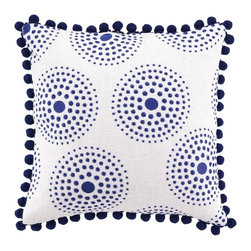 Antonia Blue Pom-Pom Embroidered Pillow - The fun and quirky pom-pom trim makes this the perfect touch for an eclectic space or kids' room.