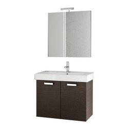 ACF - 30 Inch Wenge Bathroom Vanity Set - Set Includes: Vanity Cabinet (2 Doors), high-end fitted ceramic sink, wall mounted vanity mirror.