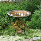 Ancient Graffiti - Copperplated Steel Birdbath - Copperplated Steel Birdbath. A stylish addition for a patio or garden our Copperplated Iron Birdbath features a handsome scrolled flowering vine embossed rim and sturdy, yet graceful iron legs fashioned to hold a potted plant. A perfect companion piece to our Copper Dripper/Fountain.