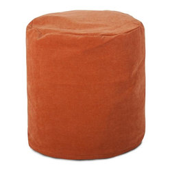 Majestic Home Goods - Villa Small Pouf, Orange - Add comfort and flare to any room with Majestic Home Goods Villa small pouf ottomans. These small poufs can be used as a foot stool, side table or as extra seating. The beanbag inserts are eco-friendly by using up to 50% recycled polystyrene beads. The removable zippered slipcovers are woven from 100% polyester Micro-velvet. Spot clean slipcover with mild detergent and hang dry. Do not wash insert.