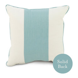 "Oilo - 18"" x 18"" Band Pillow, Aqua - One wide stripe of color takes center stage on this classic throw pillow. With coordinating piping and a solid backing, this cozy cushion can be easily mixed and matched with countless patterns and colors for your couch or bed. You can't go wrong with this classic design."