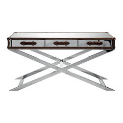 Kathy Kuo Home - Vitran British Industrial Modern Brown Leather Silver Console Table - It's as if the steam trunk from your dreams has come to life as the perfect console table for your hallway, lifted high on chrome legs. A leather bound work of art, this shimmering silver console features three spacious drawers to store all your necessary objects in style.
