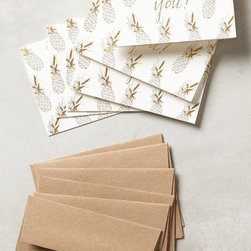 Pineapple Thank You Cards, Set of 6 - The modern age has replaced so many traditional forms of etiquette, and it's the reminder of handwritten notes that these cards represent that I like.