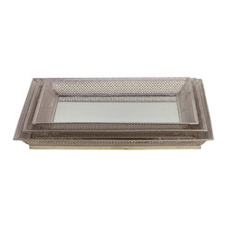 Metal Mirrored Trays - Set of 3 - Pierced Chrome Silver - *Metal Mirrored Trays Set of Three Pierced Chrome Silver