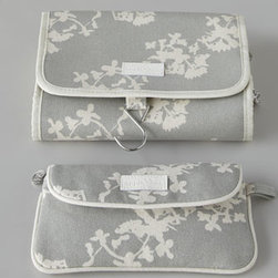 """Horchow - Fold-Out Hanging Bag - Whether you're off for a weekend jaunt or a week-long excursion, this lively set of travel bags adds pizzazz to travel with a Japanese-inspired print in a sophisticated silver hue. Made of organic cotton with bamboo silk linings. Fold-out hanging bag, 7.5"""" x 10.25"""". Envelope cosmetics bag, 9"""" x"""
