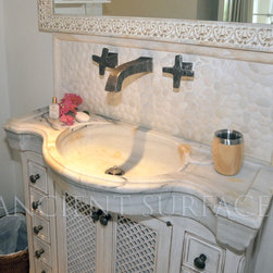 Antique reclaimed Inlayed Marble and Stone Sink for Master Bathrooms & Powder 2 - Those are the crème de la crème of ancient marble and stone sinks. Their composition, textures and subject are unique. If you want to own a fine sink that is both functional and art historic for your master bath, powder or kitchen look no further.