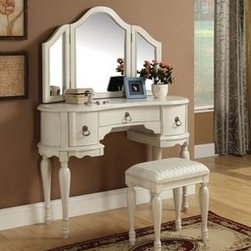 Make Up Vanity Set - This beautiful set will be a lovely addition to your traditional bedroom or dressing area. The vanity features a soft Off White finish. Trini 3 Pieces off white finish wood make up dressing table vanity set with stool and tri-fold mirror. This set includes the vanity with 3 drawers with turned legs and classic styling, the tri-fold mirror with curved tops and the padded stool with turned legs. The center drawer offers storage for brushes, make-up, and other frequently used items. Create a warm and inviting place to get dressed each day, with this stunning vanity set.