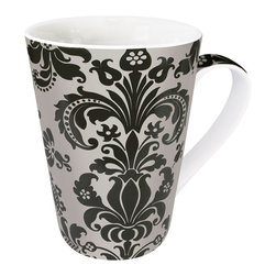 Konitz - Silver Rocaille Mugs, Set of 4 - The Silver Rocaille Mug is adorned with French-inspired ornamental designs. Metallic silver scroll motifs on a black background.