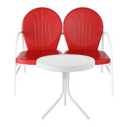 Crosley - Griffith 2-Piece Metal Outdoor Conversation Seating Set, Red - Griffith 2 Piece Metal Outdoor Conversation Seating Set - Loveseat & Table