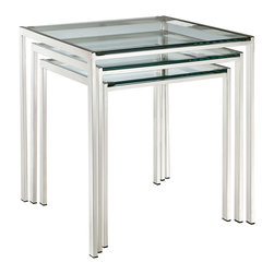 LexMod - Nimble Nesting Table in Silver - Energize your space in a quick three-stepped succession. The Nimble nesting table set is as minimalist and modern as it gets. The shimmering stainless steel frame blends well with any space, while the tempered glass top is resilient enough for many years of use.
