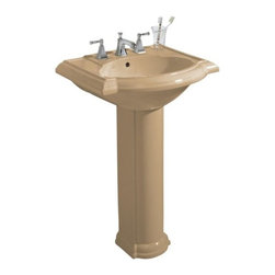 KOHLER - KOHLER K-2286-1-96 Devonshire Pedestal Lavatory with Single-Hole Faucet Drilling - KOHLER K-2286-1-96 Devonshire Pedestal Lavatory with Single-Hole Faucet Drilling in Biscuit
