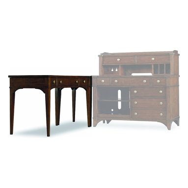 """Hooker Furniture - Abbott Place Leg Desk - Warm Cherry - White glove, in-home delivery!  For this item, additional shipping fee will apply.  Abbott Place takes a fresh spin on traditional styling for a look that blends the best of classic American influences with fresh, updated design.  The Abbott Place Leg Desk is available in two vibrant finishes.  It is offered in a rich, warm cherry and a clear, natural cherry for a lighter, younger palette.  Concave shaping creates energy and movement.  Tapered legs offer a crisp, smart design in good taste for style flavors ranging from new American mix to casual transitional.  Three drawers on steel ball bearing guides, two utility drawers with a writing insert, one center drawer with drop-front for use with a keyboard, levelers.   Center Drawer: 23 3/4"""" w x 16 3/4"""" d x 2 3/4"""" h  Kneehole Space: 47 1/8"""" w x 24"""" d x 24"""" h  Top Side Drawers: 7 3/4"""" w x 17 3/4"""" d x 2 3/4"""" h"""