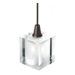 """LBL Lighting - Rocks low voltage pendant lamp - Products description:  The Rocks low voltage pendant lamp from LBL Lighting is designed by LBL Lighting and made in the USA.The Rocks low voltage pendantlamp is made fordomestic and commercial use and comes with mounting options FSJ, MPT, MR2 and MRL. This fixture features a large cube of crystalline glass with 6 feet of field-cuttable suspension cable. This fixture is available in clear with a bronze or satin nickel finish.   This fixture is compatible with theLBL Single Circuit Monorail,LBL Two-Circuit Monorail, orLBL Fusion Jack Canopies.                                              Manufacturer:                                           LBL Lighting                                                              Designer:                                           LBL Lighting                                                              Made  in:                                          USA                                                              Dimensions:                                           Height: 4.9"""" (12.4cm) X Width: 3.1"""" (7.9cm)                                                              Light bulb:                                           1X 35WGY6.35 Xenon                                                              Material                                           Metal, glass"""