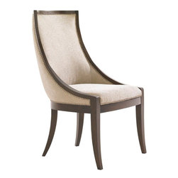 Lexington - Lexington Tower Place Talbott Upholstered Host Chair - Elegant curving design is featured in the standard fabric, Kendall - a contemporary cobblestone pattern in rose gold with a soft luster. Decorative nailhead trim frames the piece while a custom designed drop pull adorns the back. Custom fabrics may be applied, see store for details.