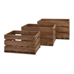 "Imax - Ainsley Wood Crates - Set of 3 - *Dimensions: 8.5-10.25-11.75""h x 15.75-18.75-21.5""w x 10.25-12.25-14"""