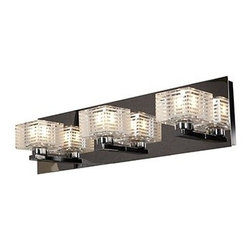 Access Lighting - Sophie 3-lt Square Etched Crystal Vanity - Sophie 3-lt Square Etched Crystal Vanity