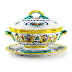 Artistica - Hand Made in Italy - Raffaellesco: Soup Tureen with Platter - Raffaellesco Collection: Among the most popular and enduring Italian majolica patterns, the classic Raffaellesco traces its origin to 16th century, and the graceful arabesques of Raphael's famous frescoes.