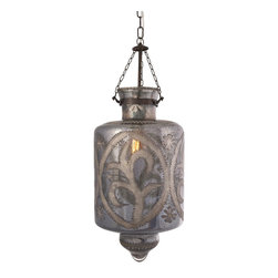 """iMax - iMax Badan Etched Glass Pendant Light X-22126 - Etched smoky gray mercury glass and iron chain add a strikingly beautiful appearance to the Cadel pendant light. This hard wired pendant light comes complete with a ceiling cap, cord length of 58.5"""" and holds 60 Watt Type B or 13 Watt CFL bulb."""