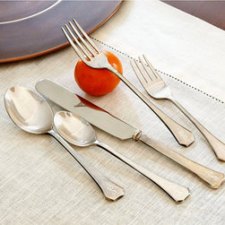 Ballard Designs - Fairhope Flatware - 20 Piece Set - Includes four each of Knife, Dinner Fork, Salad Fork, Dinner Spoon & Tea Spoon. Silver plated brass heads and handles on forks and spoons. Knife handle is silver plated brass with an 18/8 Stainless Steel head. Dishwasher Safe. Coordinates with our Fairhope Serving Set. It took months to get the finish on this heirloom set just right. Each piece is meticulously sand casted by hand and hand trimmed by artisans giving it a vintage aged feel. It has the soft shine, lightly distressed and slightly pitted patina of old silver. Made to be used, loved and passed down, each piece is crafted of nicely weighted silver plated brass. Our monogrammed option, available below, is designed in the old world style, customarily placing the monogram facing away from your guest. Historically flatware was stored between uses in silver racks displaying the family monogram. Our Fairhope Flatware is true conversation piece for any occasion.Flatware features: . . . . . *Monogramming available for an additional charge.*Allow 3 to 5 days for monogramming plus shipping time.*Please note that personalized items are non-returnable