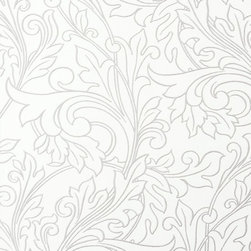 Walls Republic - Glory Silver Wallpaper R1455, Double Roll - Glory is floral ornamental wallpaper with fine metallic line work to define pattern. In a range of tone-on-tone colour schemes Glory will bring monochromatic simplicity to your interiors. Use it in your dining room or bedroom for an airy look.